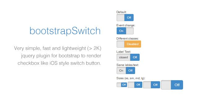 bootstrap switch jQuery plugins